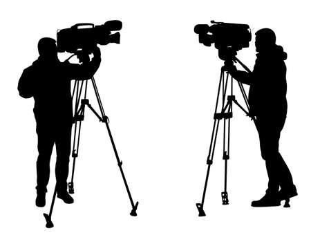 cameraman silhouettes - vector Vector