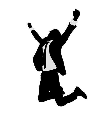 joyful: succesful bussinesman celebrating victory - vector Illustration