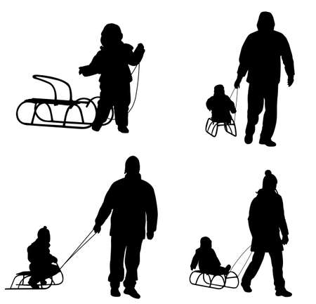 sledge: sledding silhouettes - vector