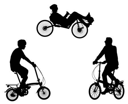 unusual bicyclists silhouettes - vector Çizim