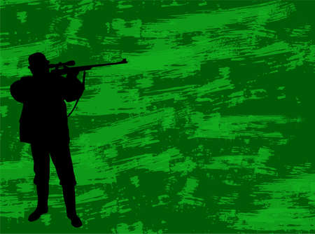 hunter silhouette on the camouflage background - vector Vector