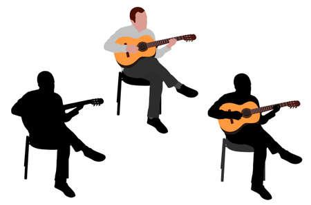 playing guitar: man playing acoustic guitar illustration