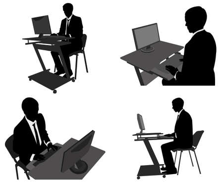 businessman working on his computer - vector Vector
