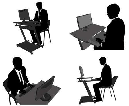 businessman working on his computer - vector Vector