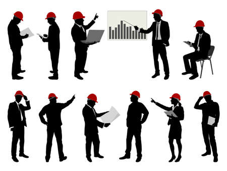 construction team: engineers with hard hat silhouettes - vector