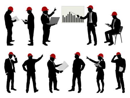 supervisores: ingenieros con siluetas sombrero duro - vector Vectores