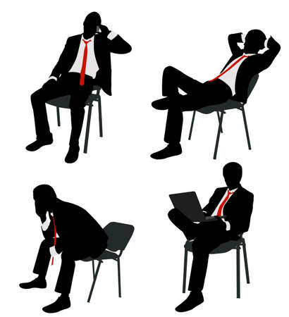 worried executive: businessman sitting on the chair - vector