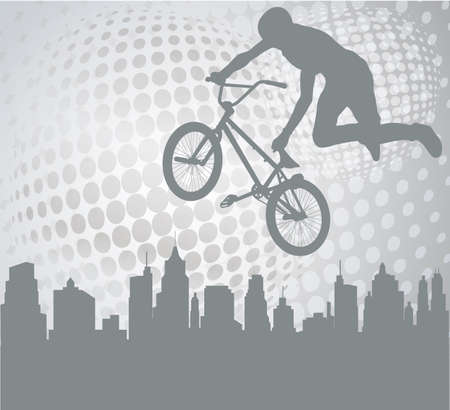 bmx: bmx cyclist silhouette on the abstract background - vector