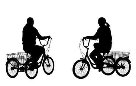 driewieler: jonge vrouw rijdt driewieler silhouetten - vector