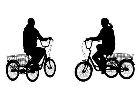 tricycle: young woman riding tricycle silhouettes - vector