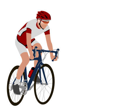bicyclist: racing bicyclist illustration - vector Illustration