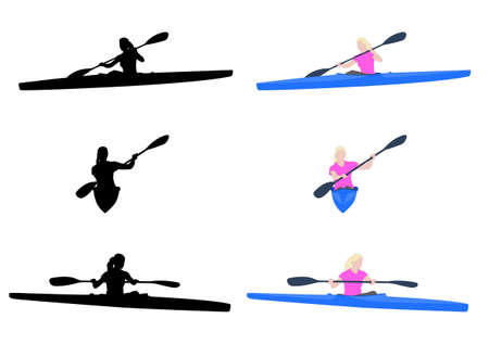 kayaking: woman kayaking silhouettes and illustration - vector