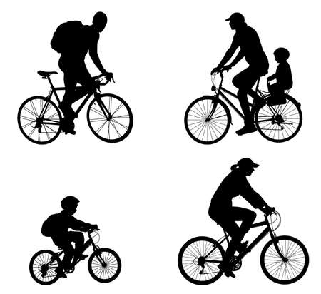 pedal: recreational bicyclists silhouettes - vector