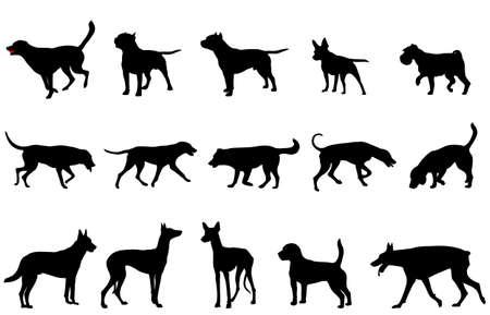 siluetas de recogida de perros - vector