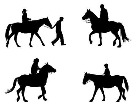 silueta ciclista: montando caballos siluetas - vector Vectores