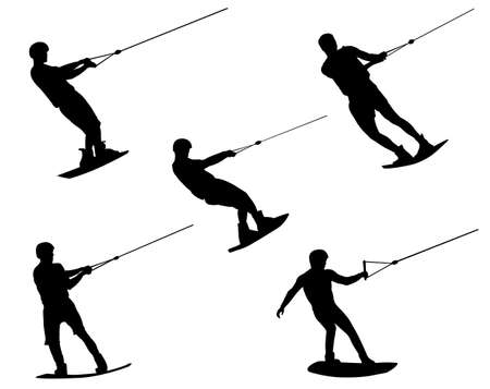 pulling rope: wake boarding silhouettes - vector