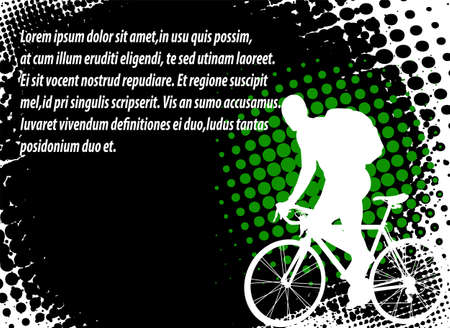 helmet bike:  bicyclist on the abstract background with space for text