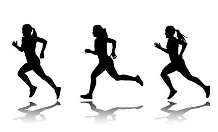 silhouettes of female sprinter Stock Illustratie
