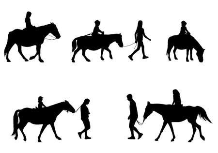children riding horses silhouettes - vector