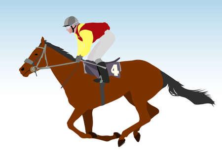 jockey riding race horse illustration Vector