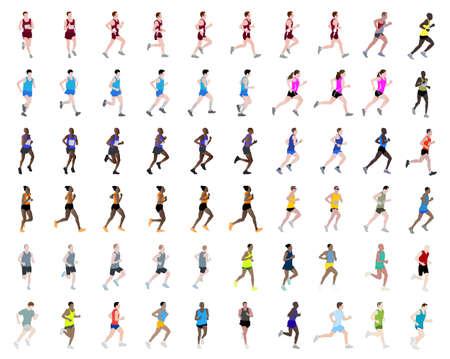 60 pessoas correndo ilustra
