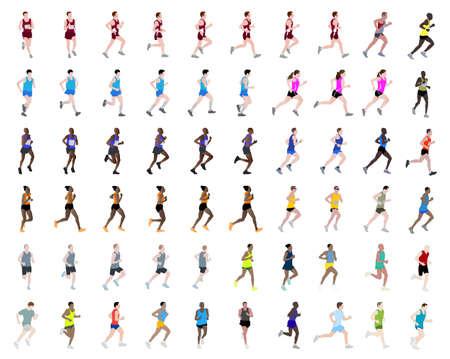 60 people running illustrations