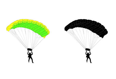 skydive: skydiver silhouette and illustration - vector