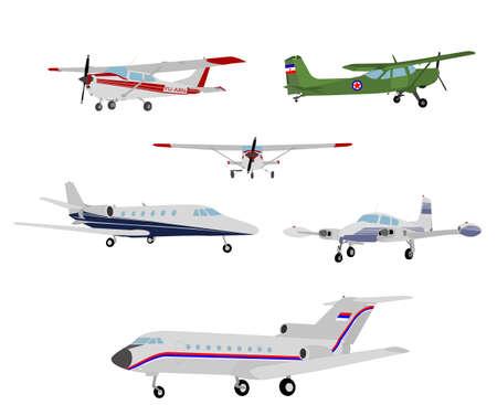 private jet: airplanes illustration - vector Illustration