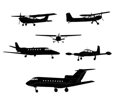 private jet: airplanes silhouettes