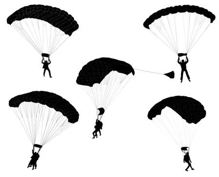 skydive: skydivers silhouettes collection - vector