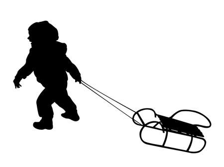 sledging: child pulling sledge silhouette - vector