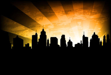skyline van de stad op de abstracte achtergrond Stock Illustratie