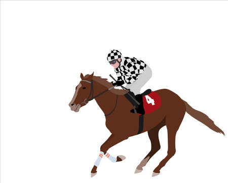 jockey riding race horse illustration - vector Illustration