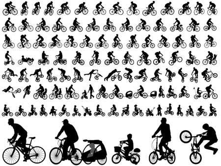 106 hoge kwaliteit fietsers silhouetten Stock Illustratie