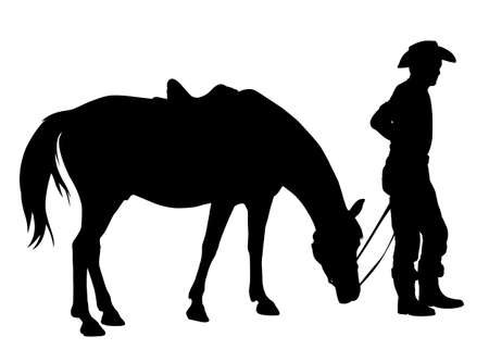 western saddle: cowboy with his horse silhouette - vector Illustration
