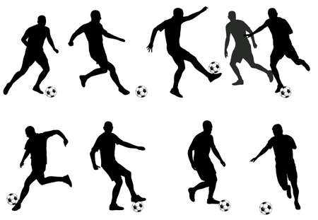 man jumping: soccer players detailed silhouettes set - vector
