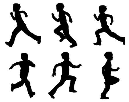a silhouette: kid running silhouettes - vector Illustration
