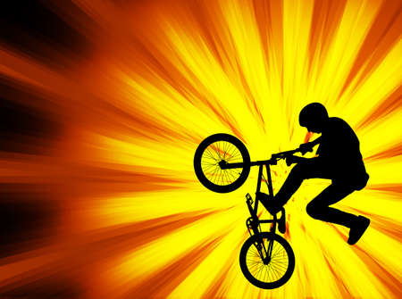 bicyclist: bmx bicyclist on the abstract background - vector