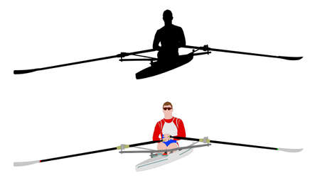 rowboat: rower silhouette and illustration - vector Illustration