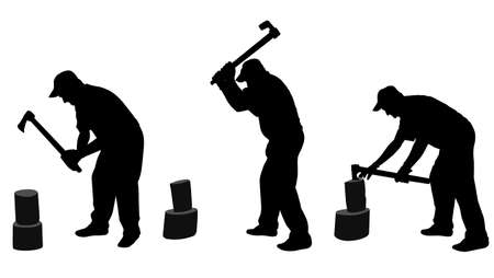 splitting: man chopping woods silhouettes  vector Illustration