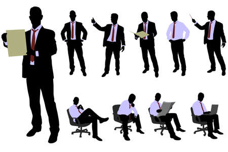 financial adviser: 10 high quality business people silhouettes - vector