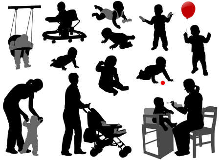 crawling baby: babies and toddlers silhouettes