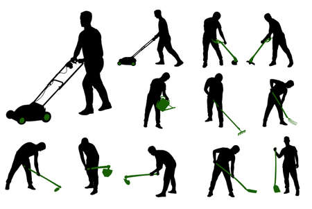 cutting: gardening work silhouettes  vector