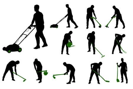 jardineros: jardinería siluetas trabajo vector