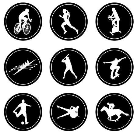 pilates ball: simple sport icons set  vector Illustration