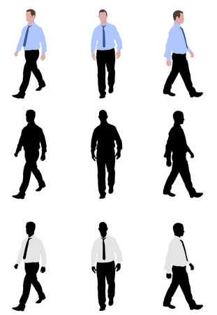 yürüyüş: Adam yürüyüş siluetleri ve illüstrasyon Çizim