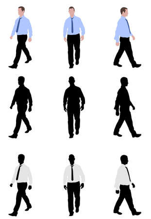 young business man: man walking silhouettes and illustration