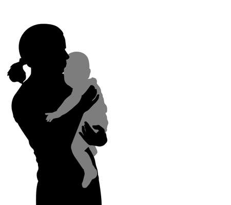baby moeder: moeder die baby silhouet vector