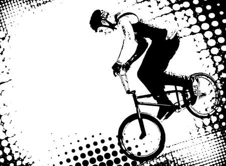 bmx bike: bmx cyclist on the abstract halftone background  vector Illustration
