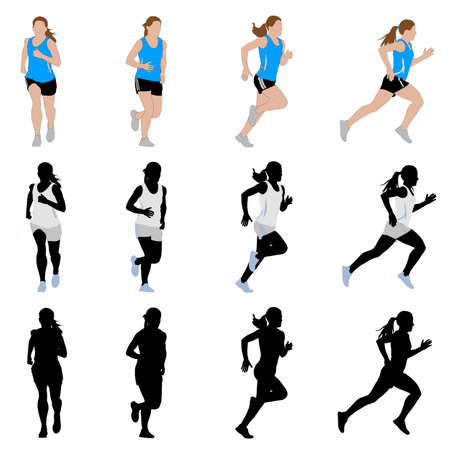 woman vector: female runner  vector